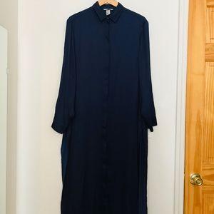 Silky navy shirt dress